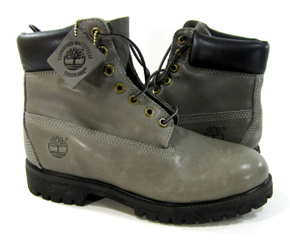 timberland shoes 6 inch premium leather gray boots size 8