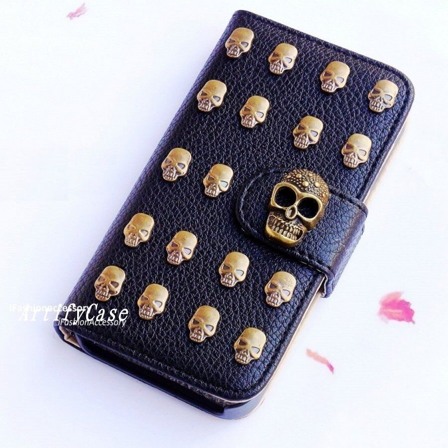 Gothic Skull Stud phone wallet Leather flip case cover For ...