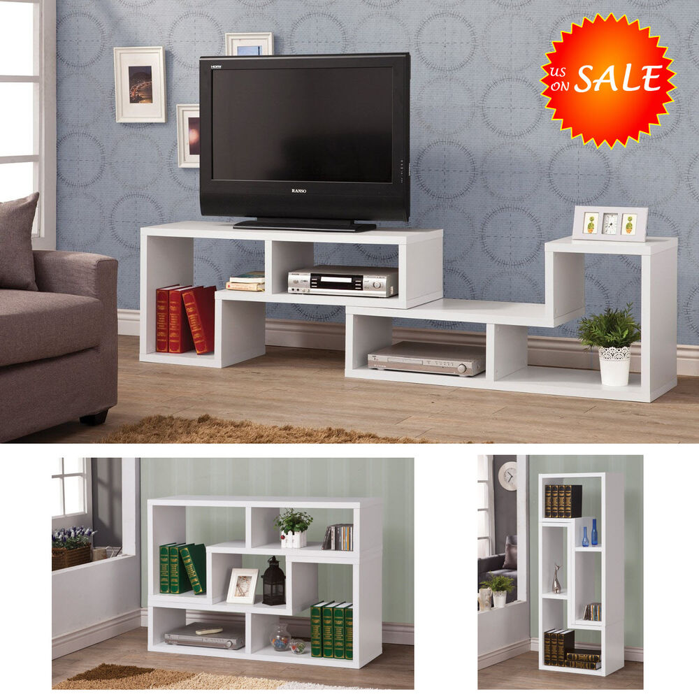 Modern tv stand console media storage cabinet shelf home for Tv media storage cabinet