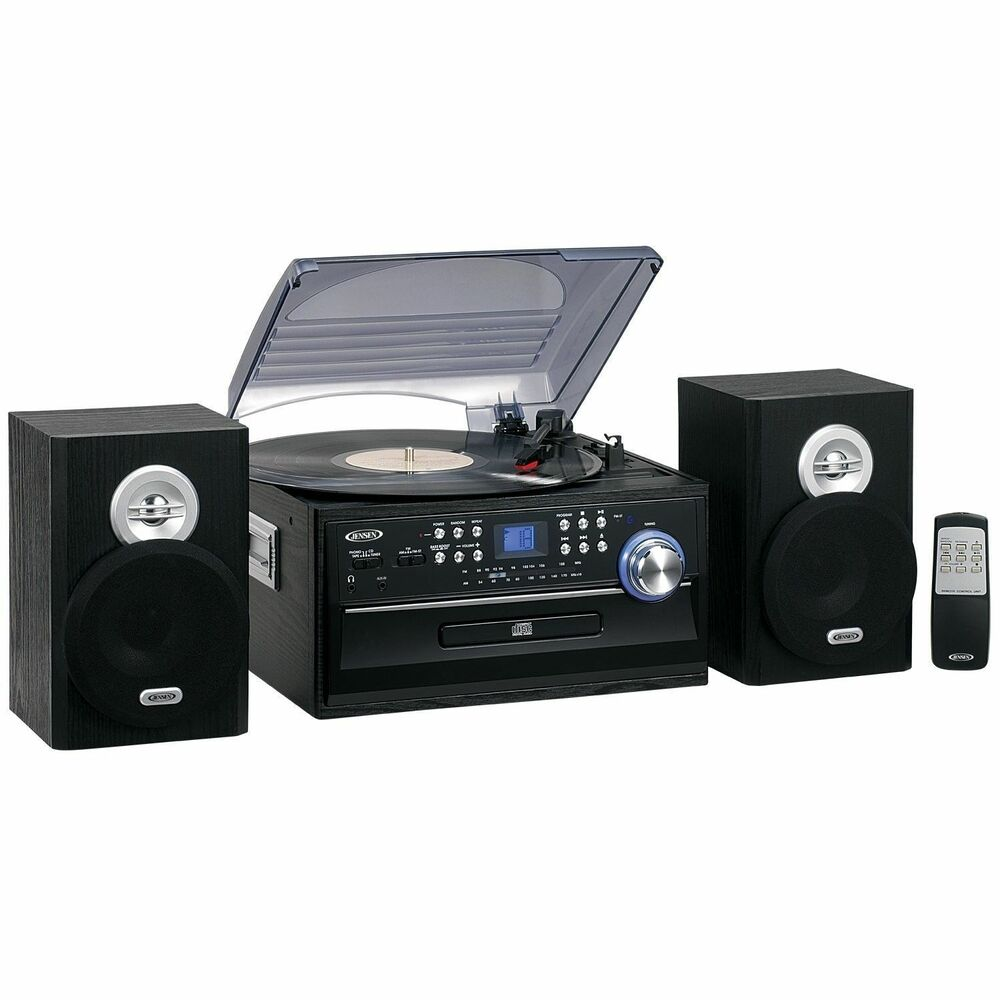 new jensen 3 speed home stereo cd record cassette player. Black Bedroom Furniture Sets. Home Design Ideas
