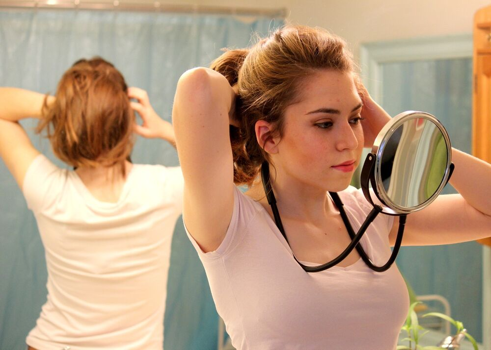 Hands Free Around The Neck Mirror Great For Viewing Back