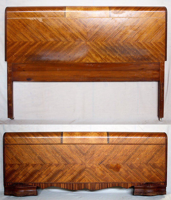 Vintage Art Deco Waterfall Wood Full Size Bed Frame Head