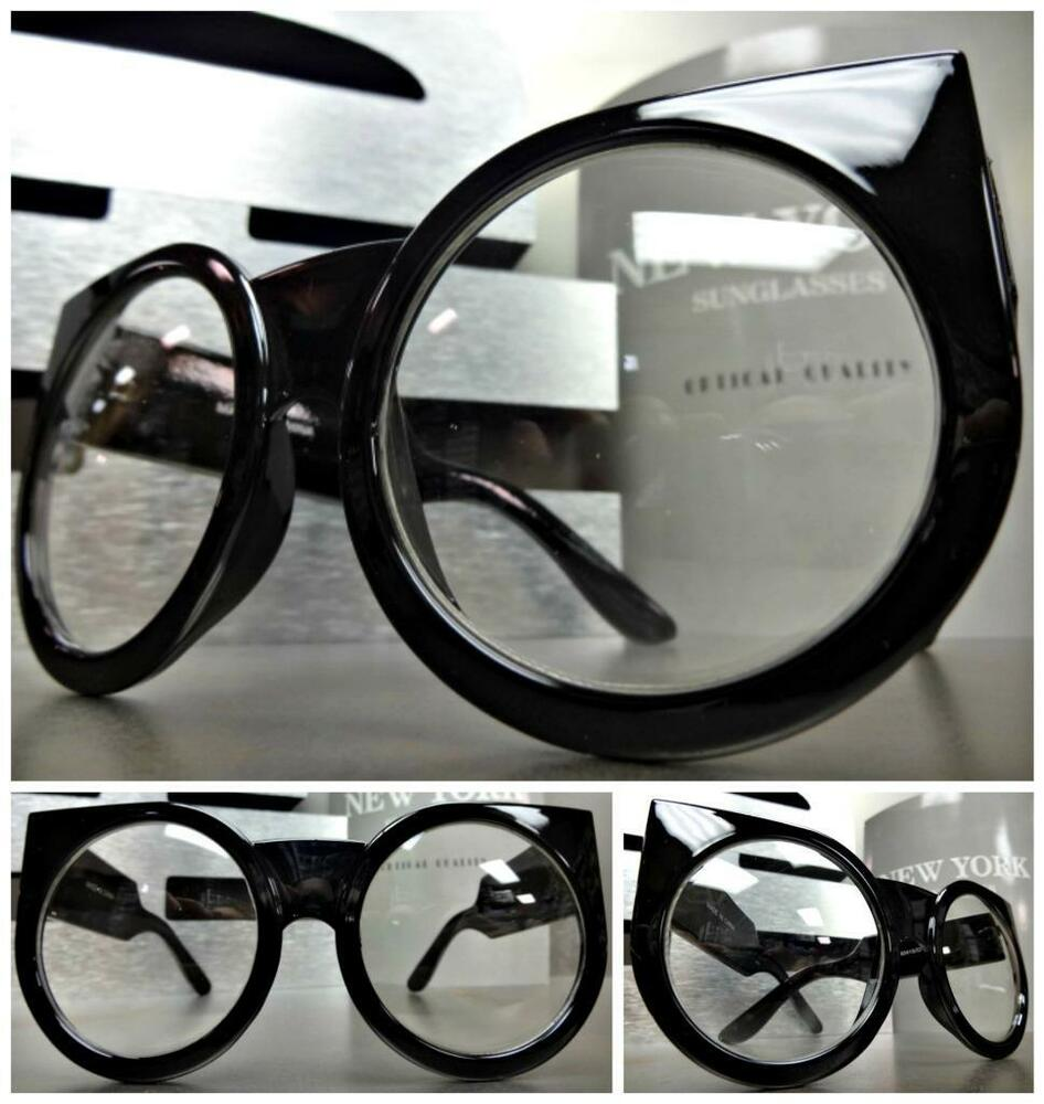 Thick Black Frame Prescription Glasses : LARGE OVERSIZE VINTAGE Style Clear Lens EYE GLASSES THICK ...