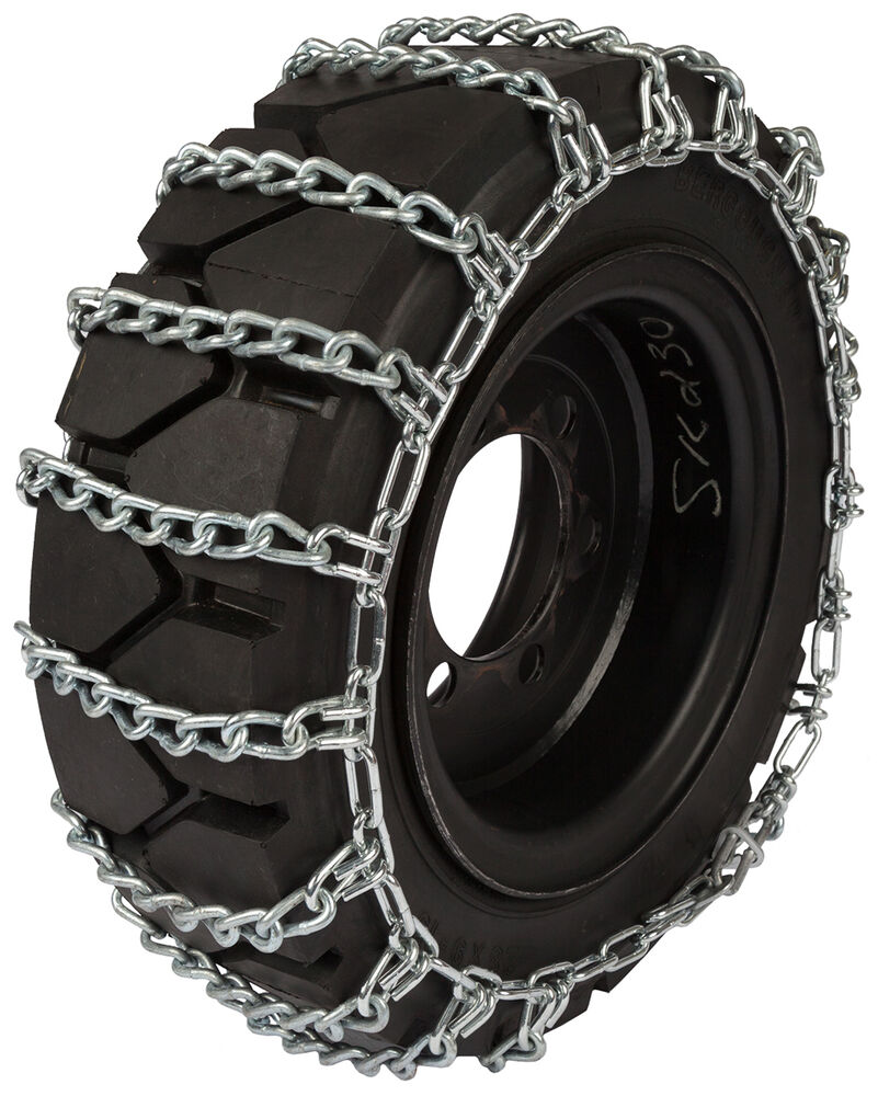 quality chain 1502 2 8mm round link skid steer bobcat tire chains snow traction ebay. Black Bedroom Furniture Sets. Home Design Ideas