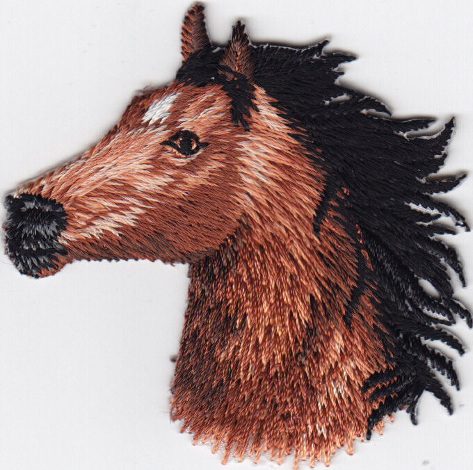 Animals horse head facing left iron on embroidered patch