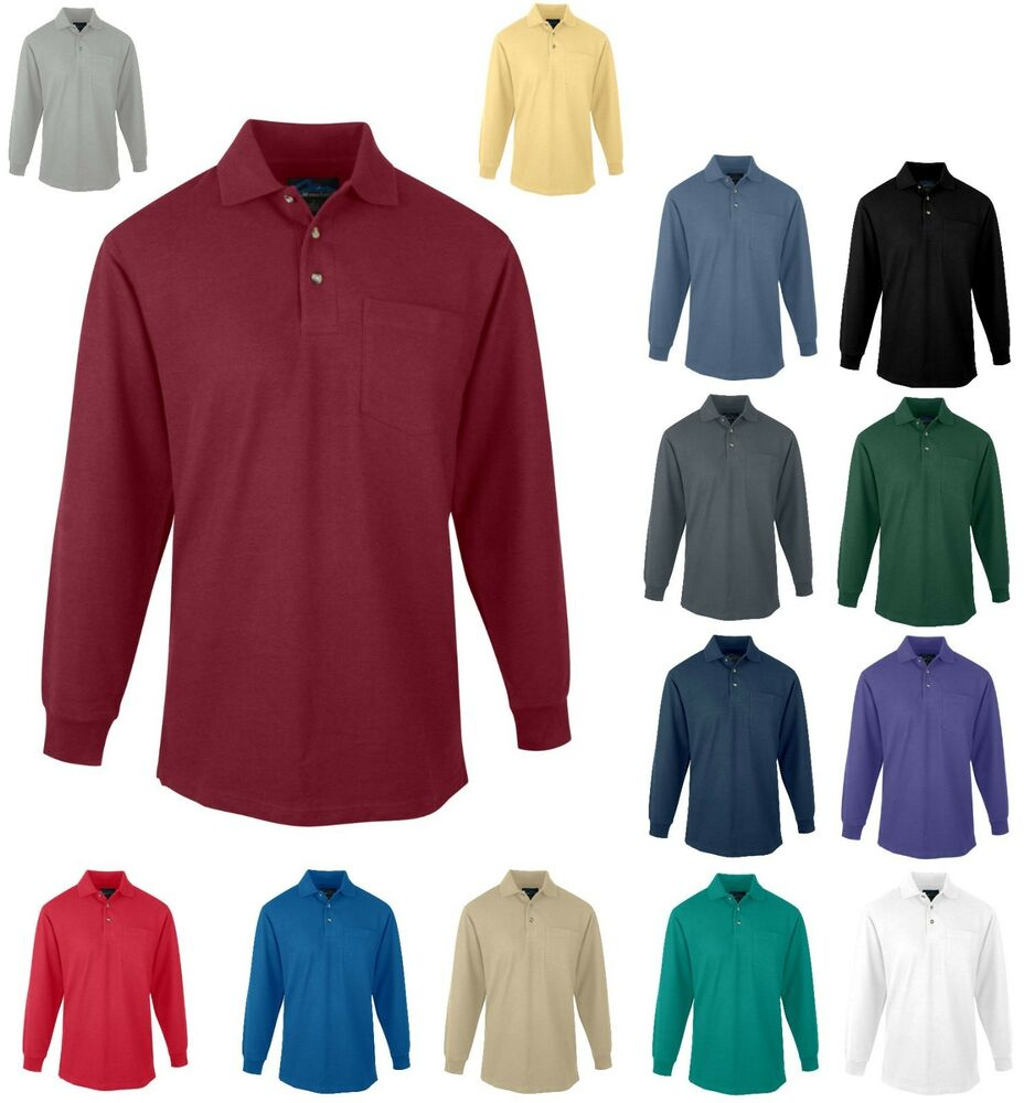 Men 39 s mid weight long sleeve golf polo shirt pocket xs for Mens 5x polo shirts