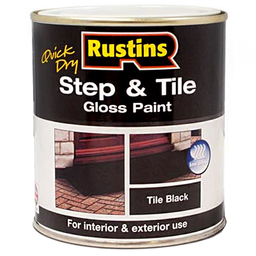 Rustins Quick Drying Step And Tile Black Gloss Paint 250m Ebay