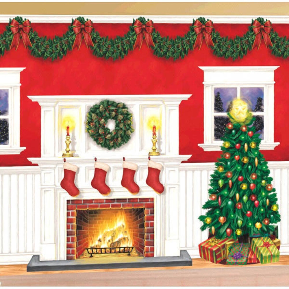 Giant christmas party scene setter fire place tree wall