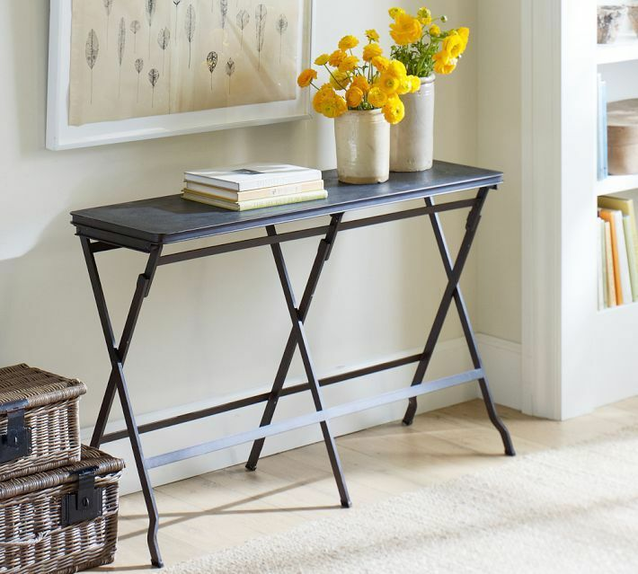 Pottery Barn Carter Metal Console Table Foldable 49 Antique Black Furni