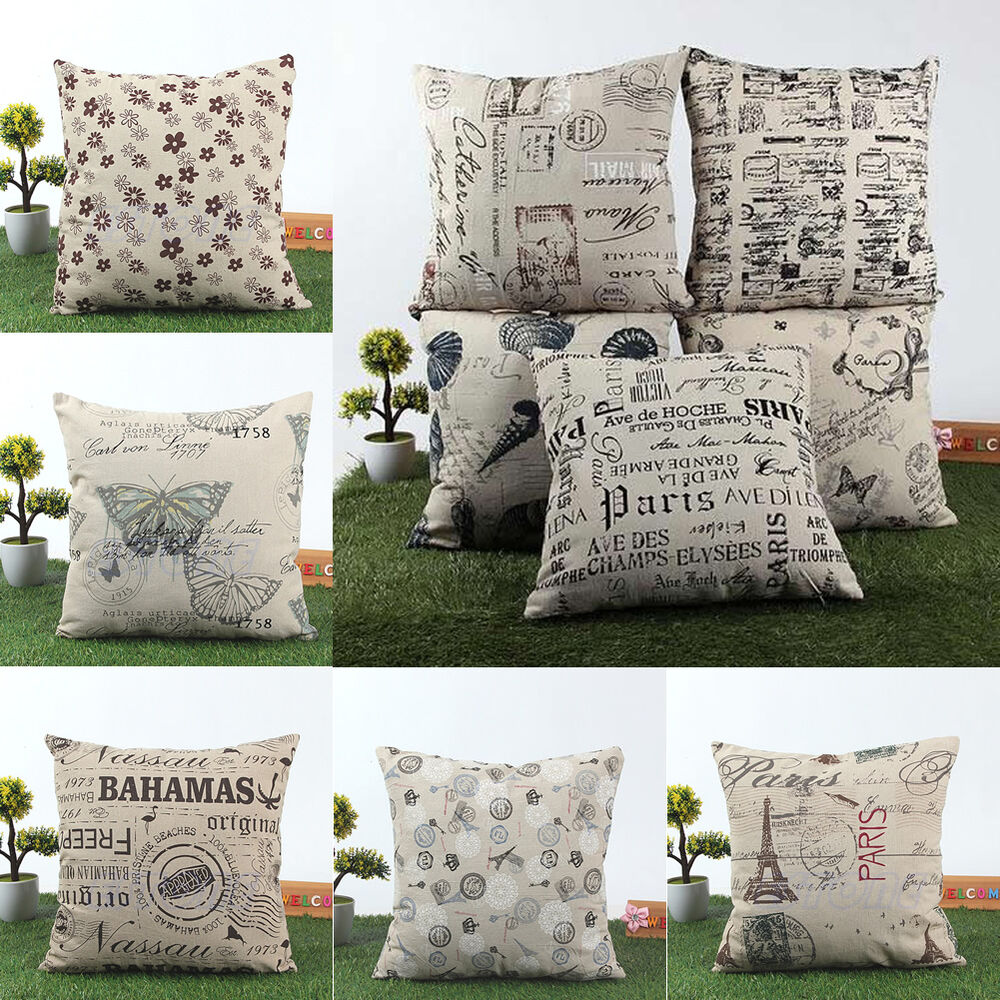 Shabby Chic Bedroom Throw Pillows : Euro Shabby Chic Linen Cotton Cushion Cover Retro Throw Pillow Case Home Decor eBay