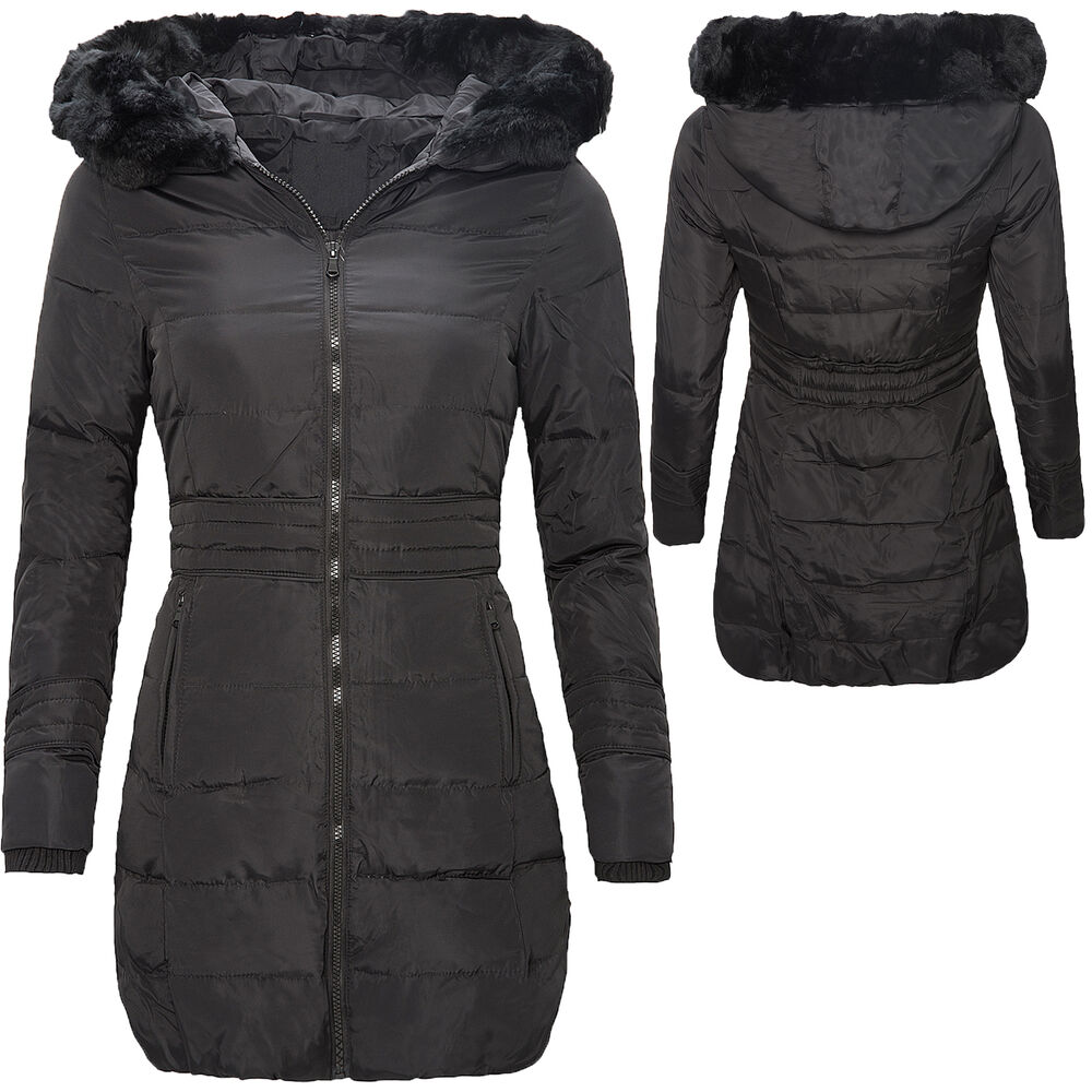 damen mantel parka winterjacke daunenjacke schwarz lang warm d 108 neu xs xxl ebay. Black Bedroom Furniture Sets. Home Design Ideas