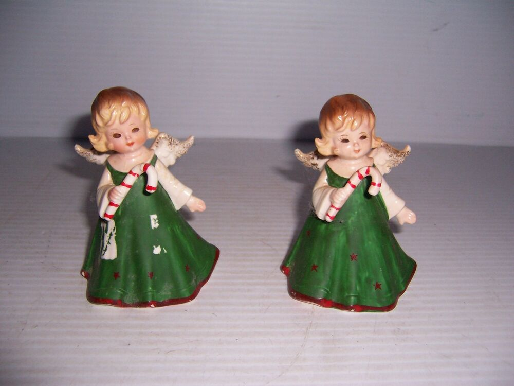 Vintage set of lefton china christmas angel girl holding