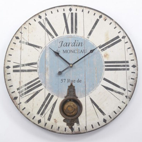 Large Vintage Shabby Distressed Wood Jardin Pendulum Wall