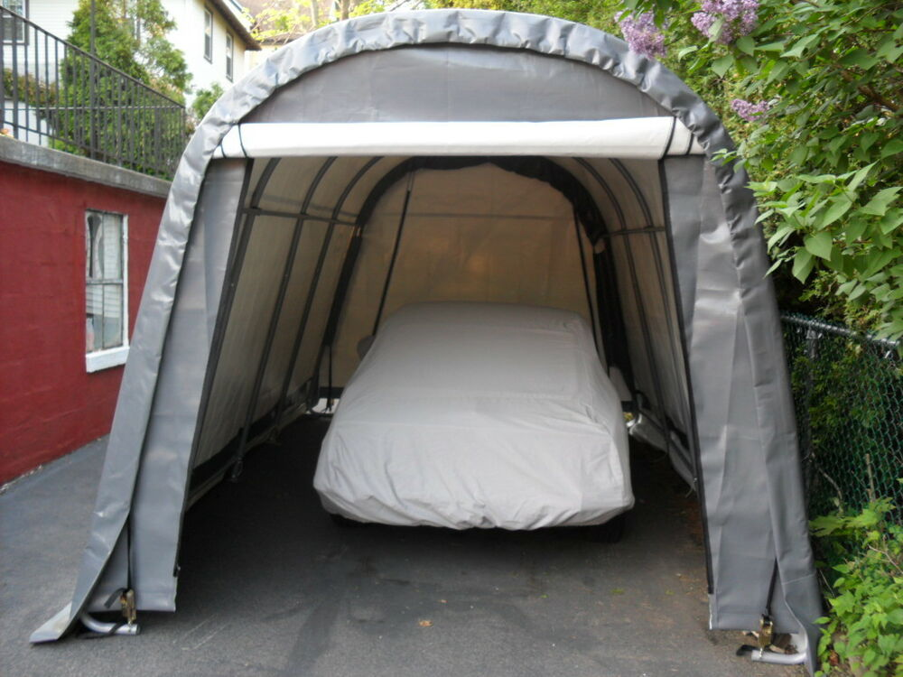 Metal Car Shelter : Shelterlogic round shelter portable garage steel