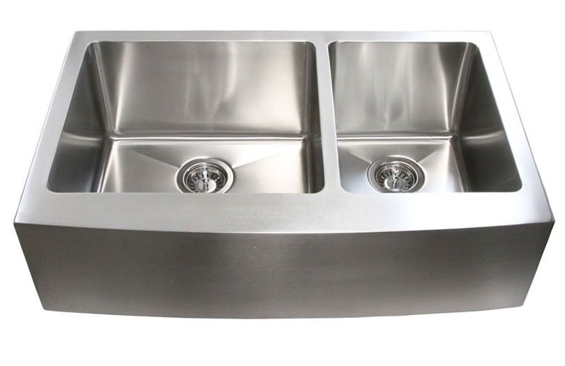 33 inch stainless steel 60 40 offset farmhouse kitchen for Best quality stainless steel kitchen sinks