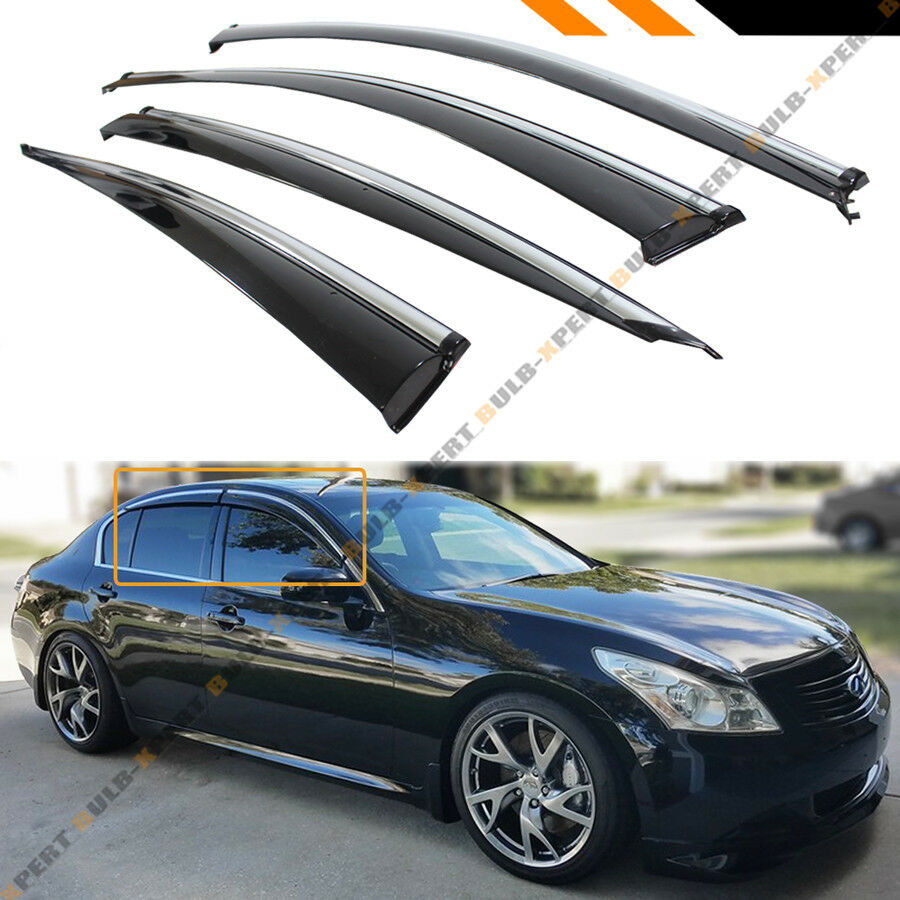 1992 Infiniti G Exterior: CLIP-ON TYPE SMOKE WINDOW VISOR W/ CHROME TRIM FOR 07-15