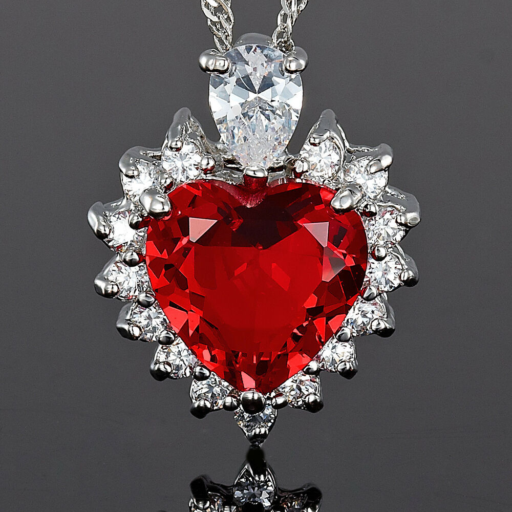 Red Chandelier India: Xmas Jewelry Fashion **Heart Cut Red Ruby Pendant Necklace
