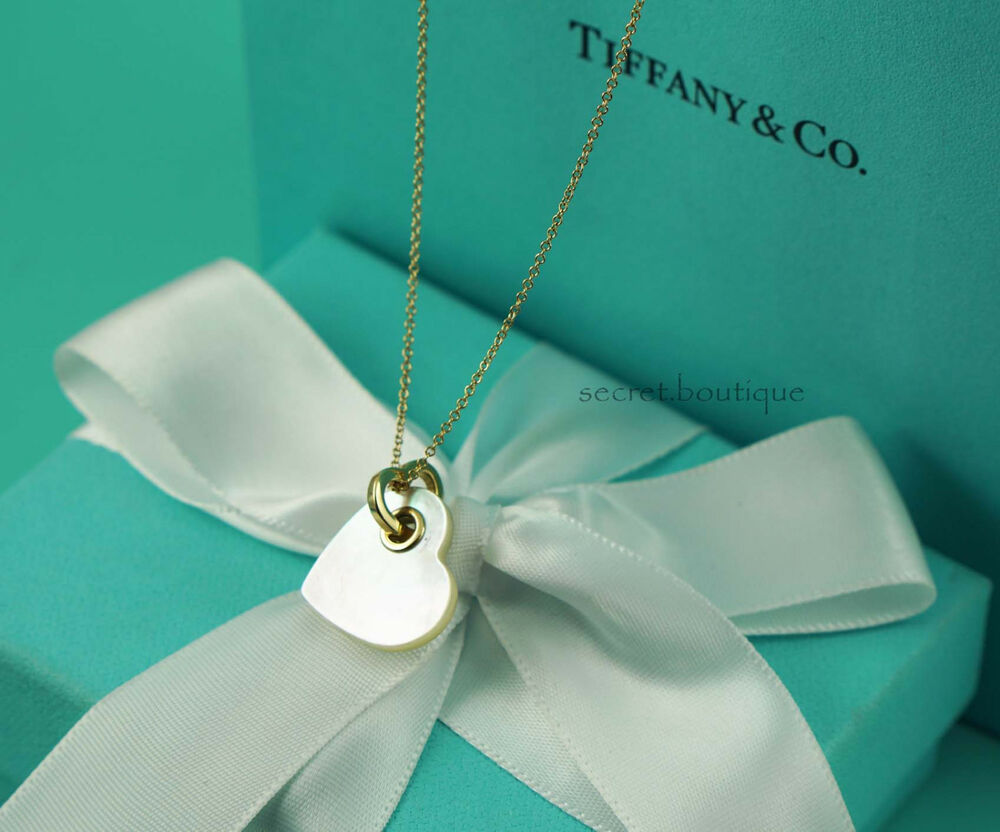 Authentic tiffany co 18k gold mother of pearl heart for New mom jewelry tiffany