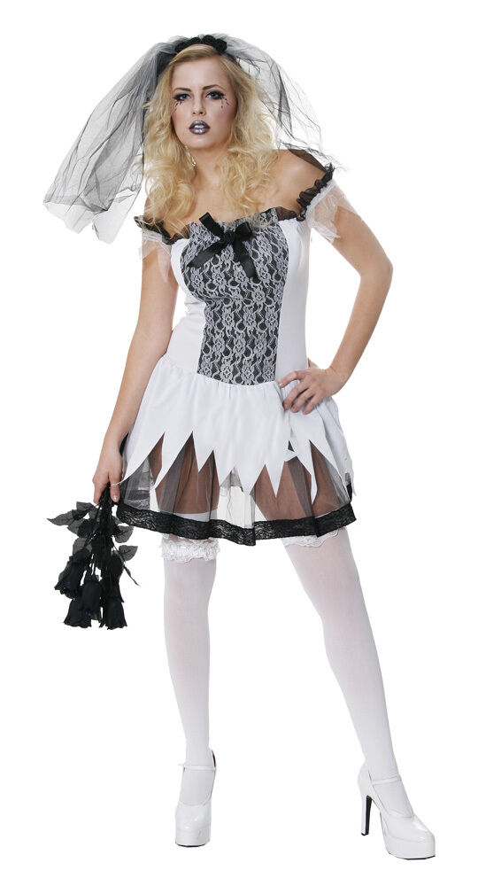Sexy corpse bride halloween ghost wedding zombie teen for Sexy wedding dress costume