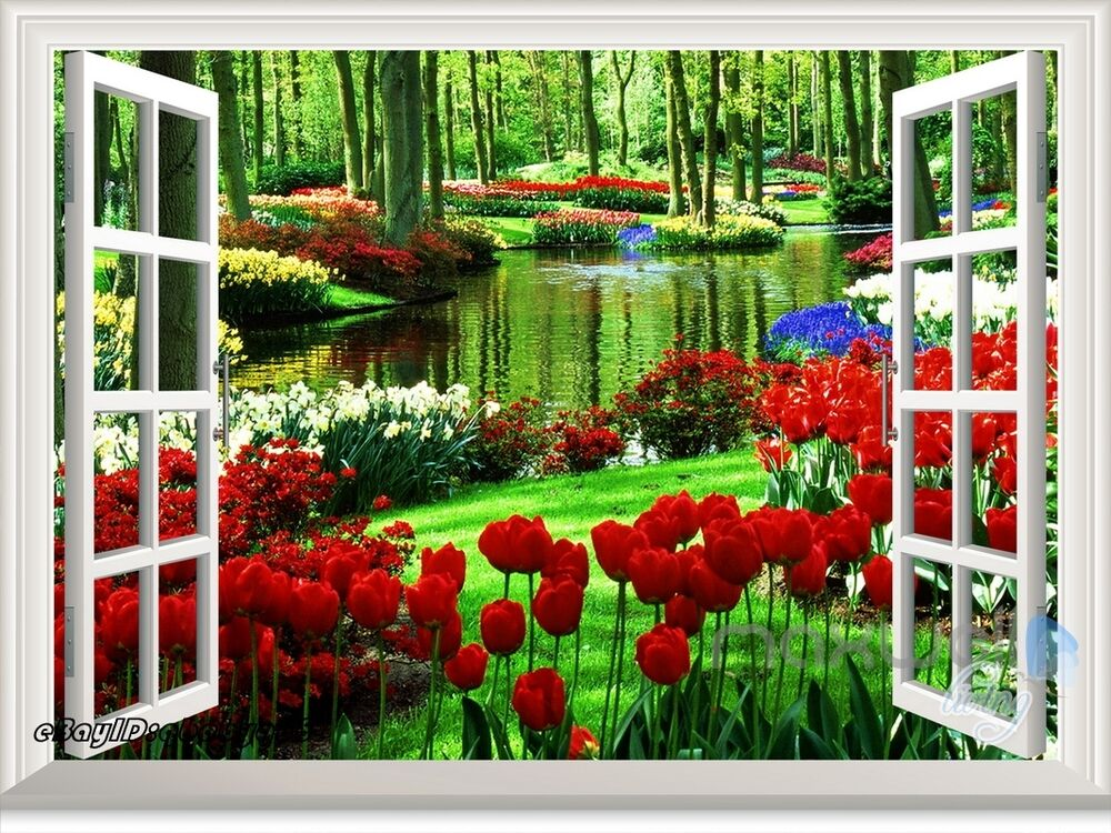 Secret garden tulip 3d window view removable wall stickers for 3d garden decoration