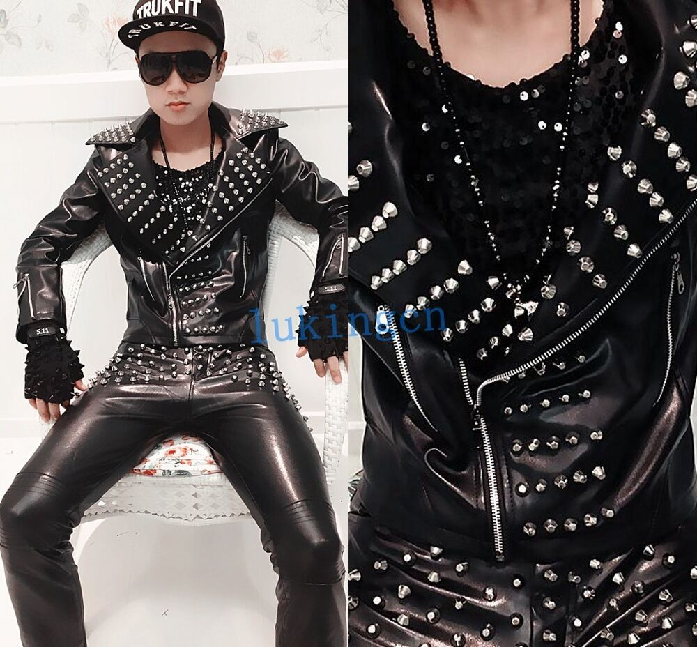 Leather jackets with spikes for men