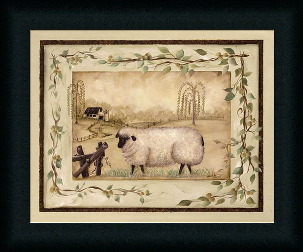 Spring sheep michele musser 12x15 country primitive framed for Wall art prints