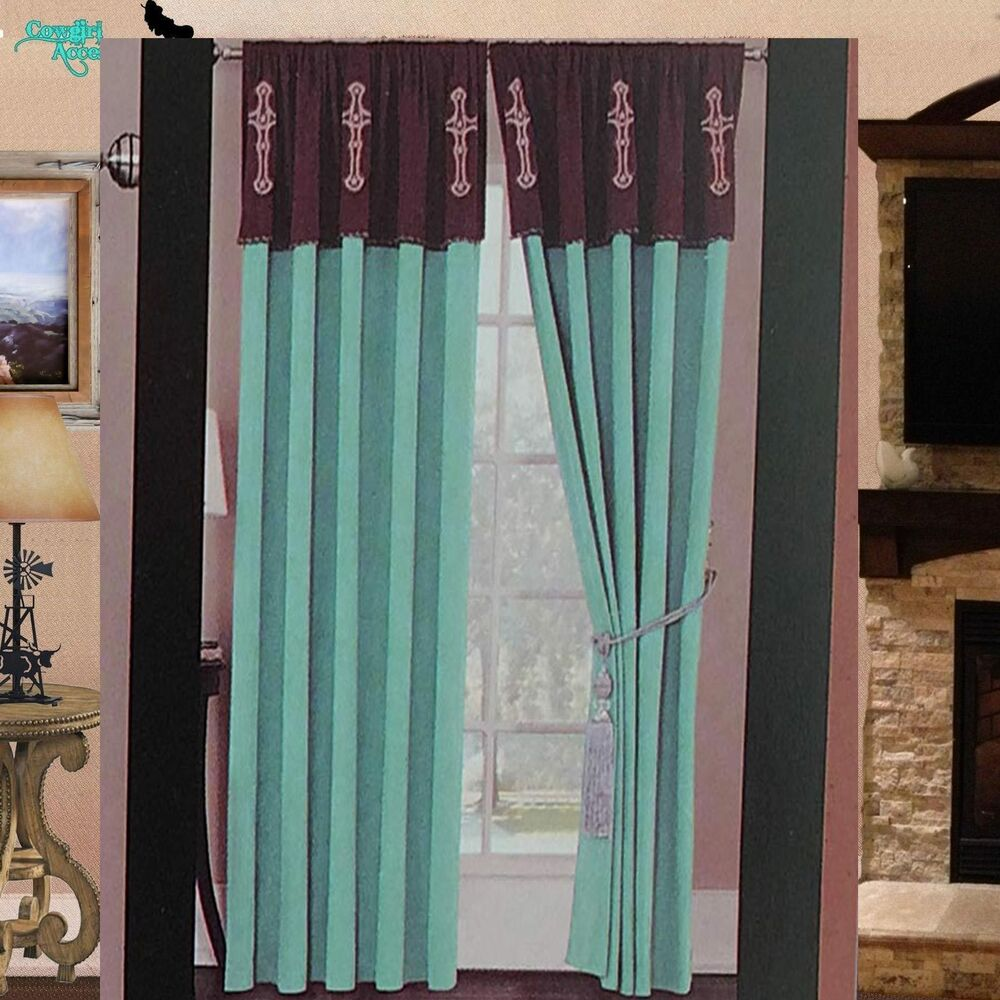 Luxury Western Star Cross Design Embroidery Curtain Lining Turquoise Blue Brown Ebay