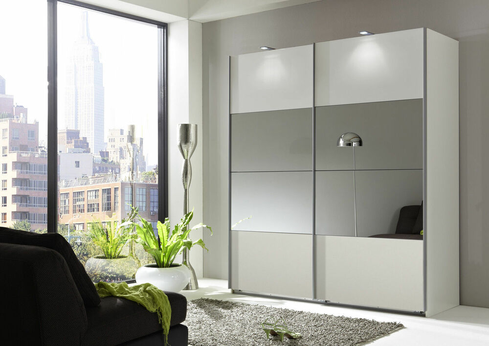 eleganz white mirror 135cm sliding door mirror wardrobe ebay