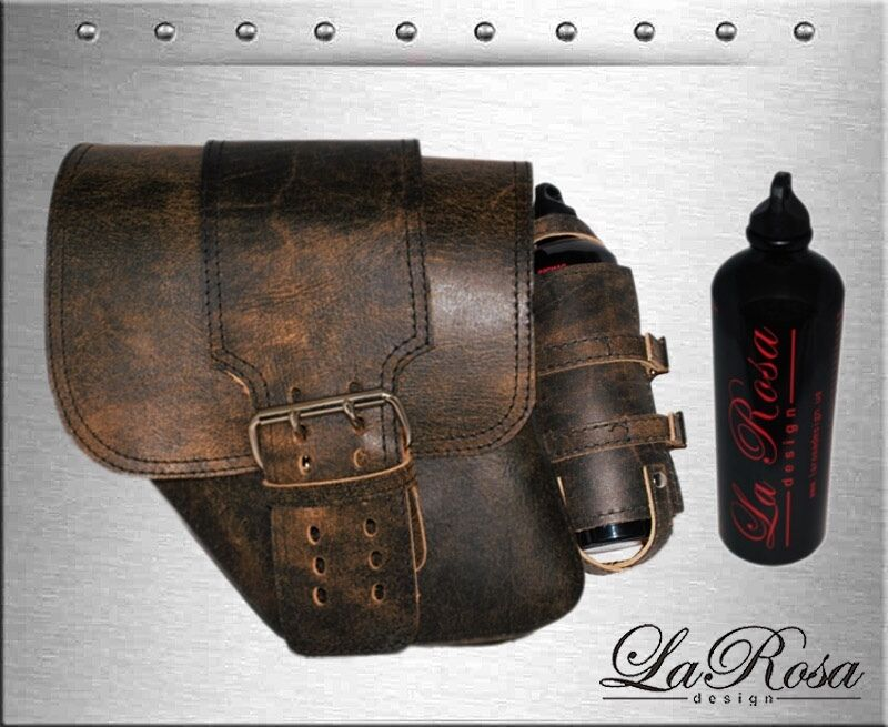 La Rosa Rustic Brown Leather Solo Strap Harley Dyna Left