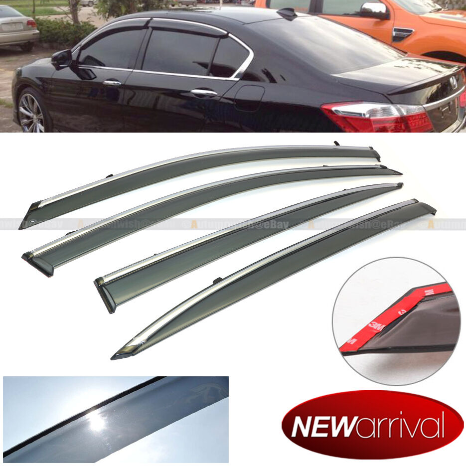 Fit 13 16 Accord 4dr Tinted Chrome Trim Window Visor Vent