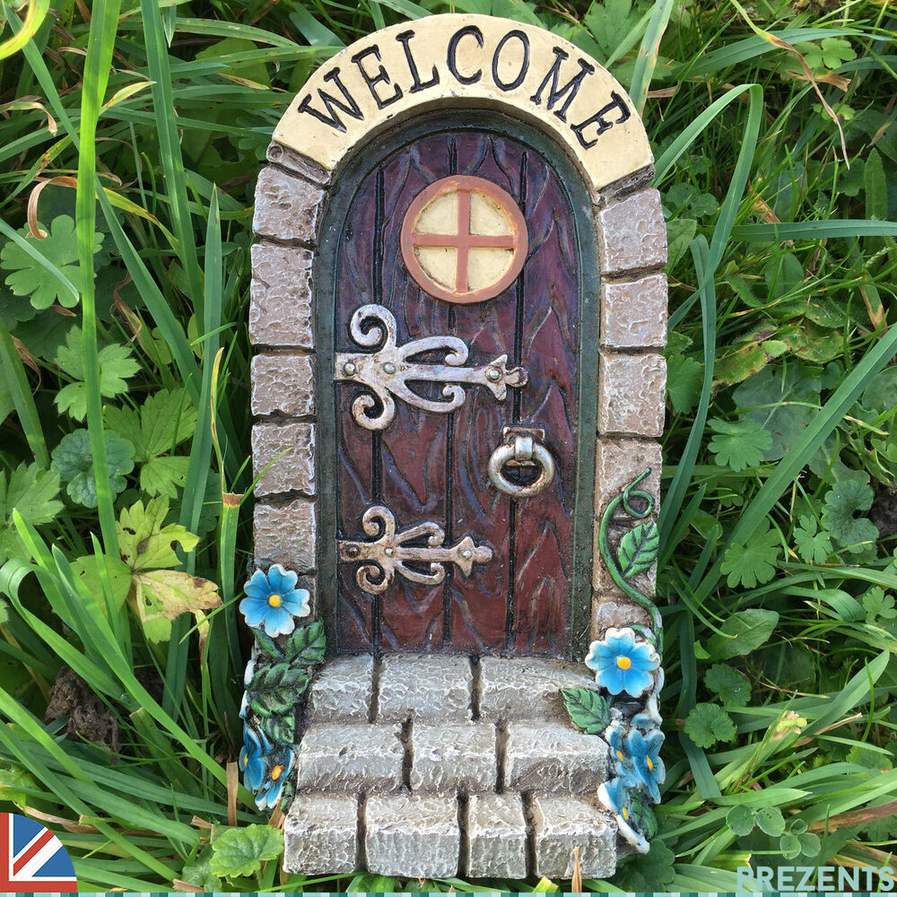 Welcome fairy door pixie garden ornament elf outdoor for Outdoor fairy door