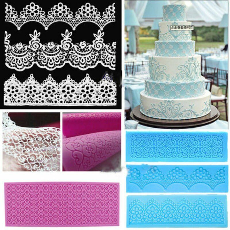 Lace silicone mold mould sugar craft fondant mat cake for Baking decoration