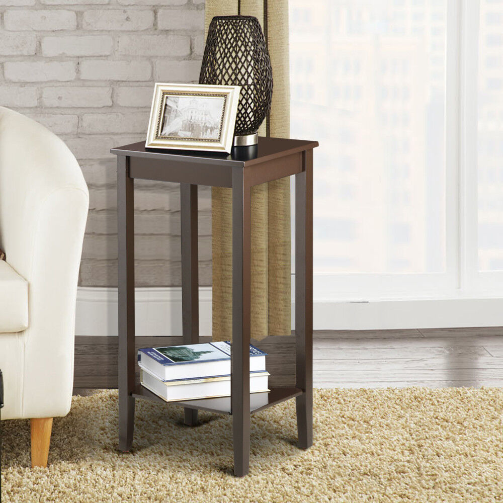 wood nightstand sofa side coffee end table tall bedside. Black Bedroom Furniture Sets. Home Design Ideas