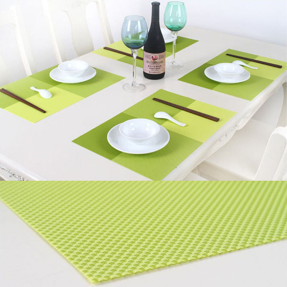 C8 us 1pc table dinner placemats waterproof pvc insulation for Dinner table placemats