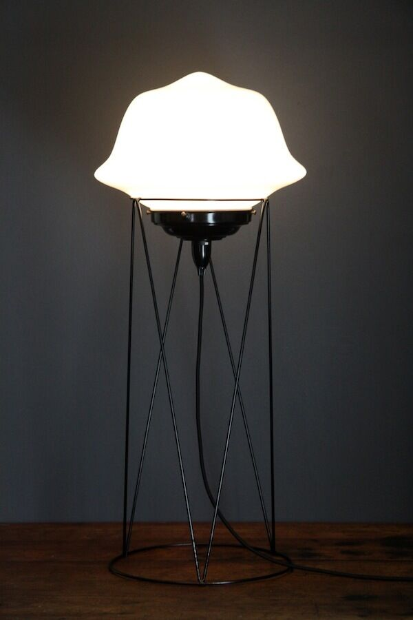 Art deco black floor lamp stand and original 195039s shade for Arc floor lamp with poly crystal shades