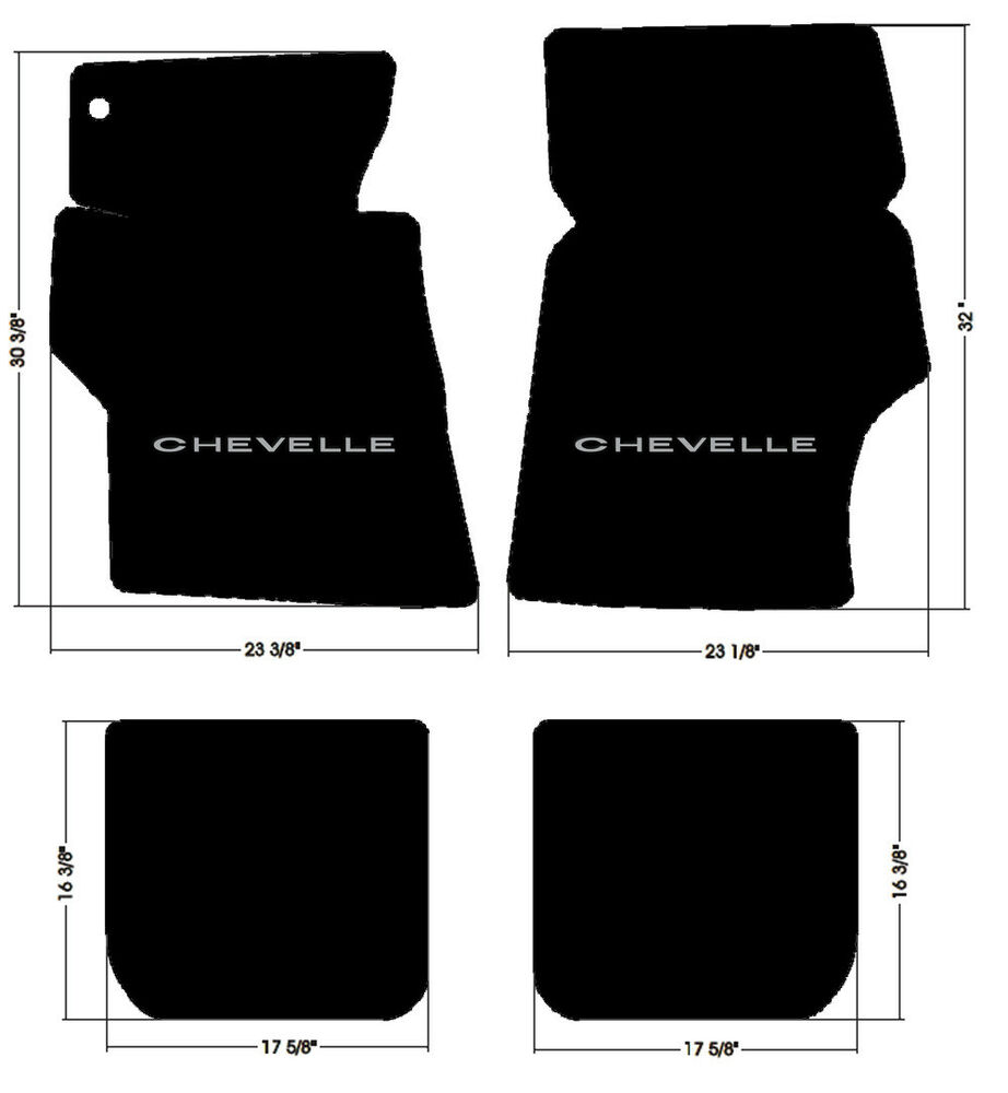 New 1966 1967 Chevelle Floor Mats Black Carpet