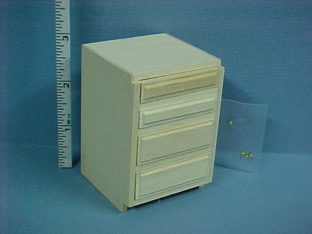 dollhouse miniature 4 drawer kitchen base cabinet unfinished houseworks 14405 ebay. Black Bedroom Furniture Sets. Home Design Ideas