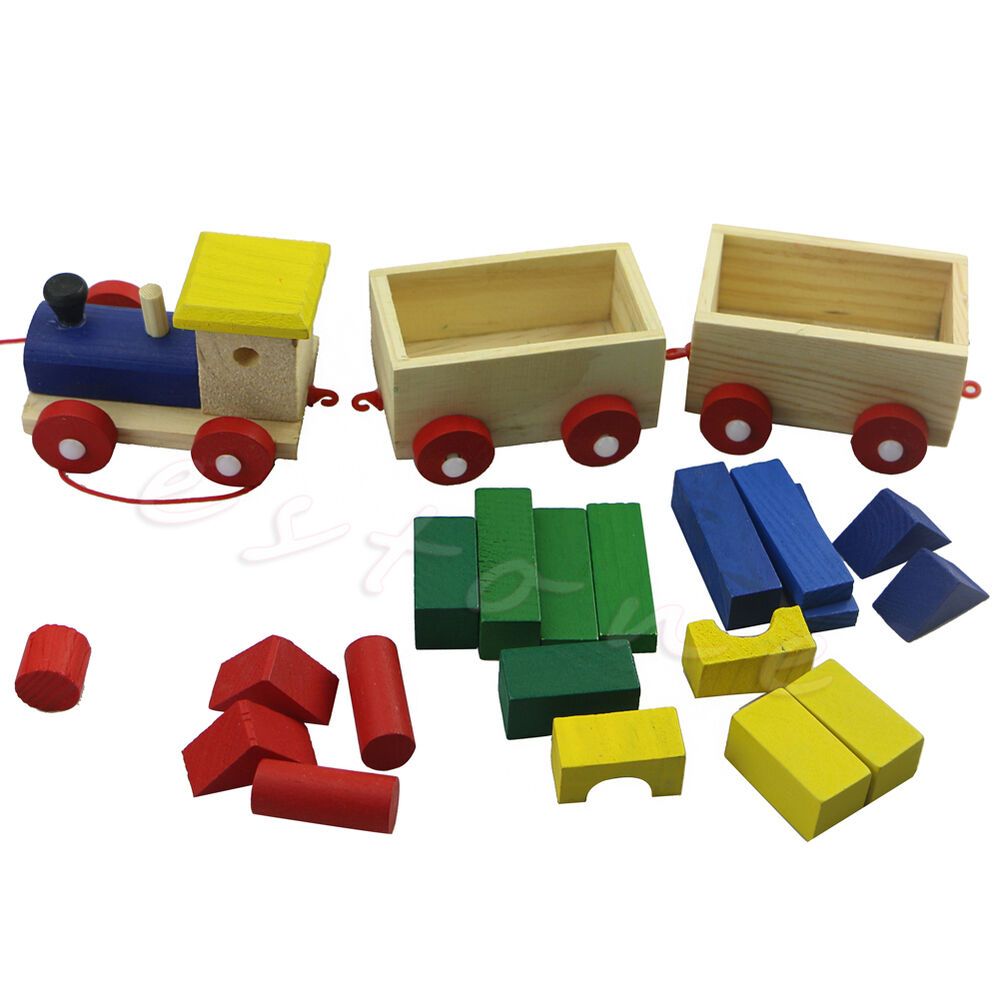 Fun Kids Baby Developmental Toys Toddler Wooden Train