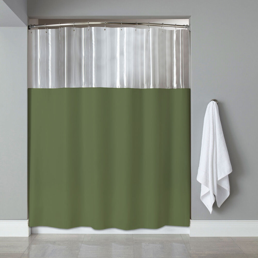see through top clear sage vinyl bath shower curtain 72 x