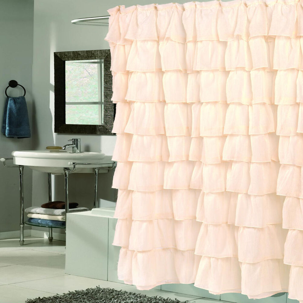 """Elegant Ivory Crushed Voile Ruffled Tier Shower Curtain 70"""" x 72 ..."""