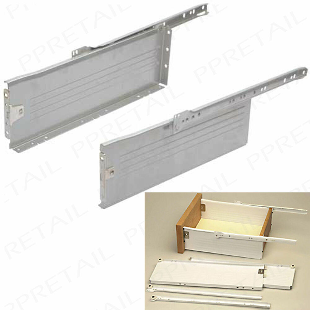 Drawer Slide Runners 400 X 150mm Kitchen Roller Set Box Sides Replacement White Ebay
