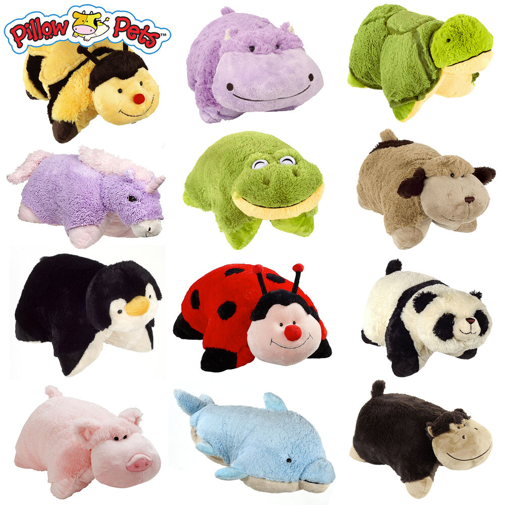 Animal Toy Pillow : Set of 4 Pillow Pets Pee-Wees Stuffed Animal Plush Kids Bedtime Nap Toys Mini eBay