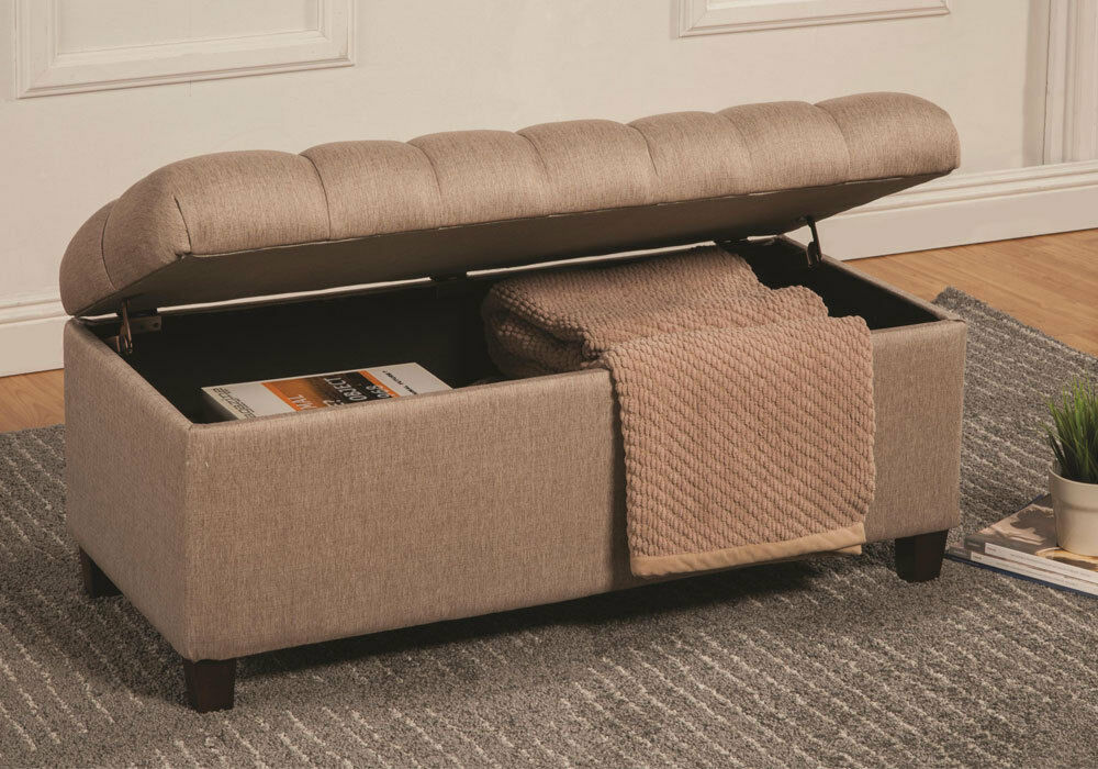 Accent Upholstered Tufted Seat Storage Bench Ottoman Taupe