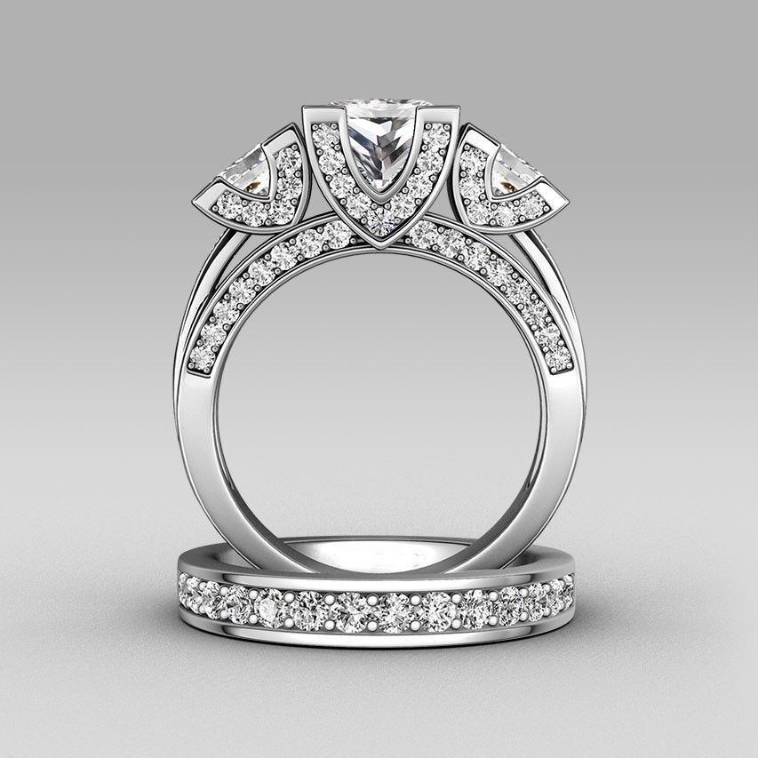 Princess cut Diamonique Cz 925 Silver Wedding Ring Set ...