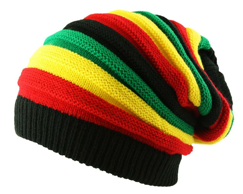 ITZU Co. RASTA Reggae Oversized Slouch Pull On Knitted Beanie Cap Hat eBay