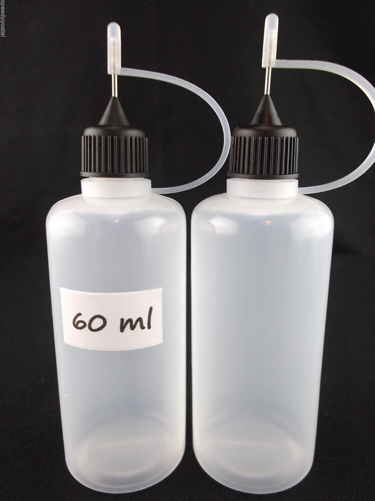 2 Soft Plastic 60ml Steel Needle Tip Bottles Ink Liquid
