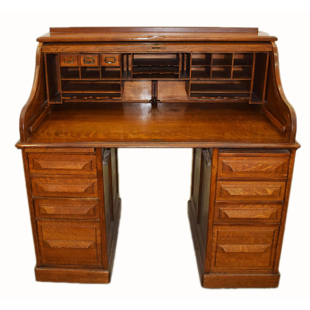 Antique Rolltop Desk American Oak Circa 1900 7376