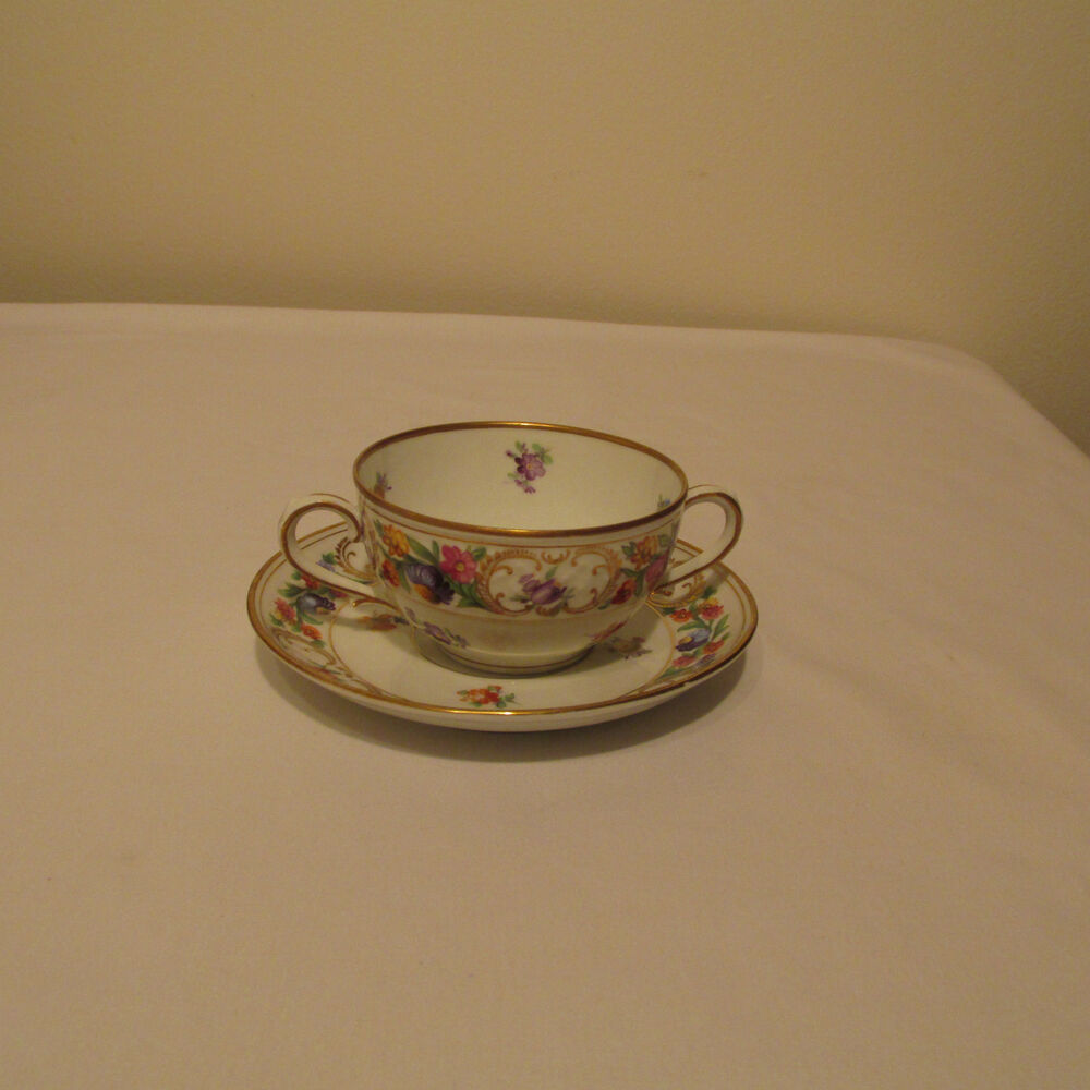 Old Schumann Dresden Double Handle Bouillon Soup Bowl And