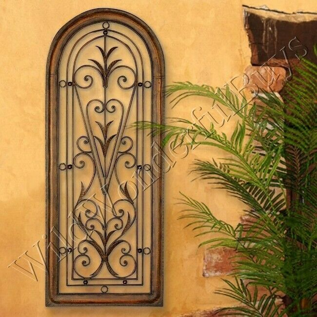 Mediterranean wall panel grille italian tuscan window arch for Window arch wall decor