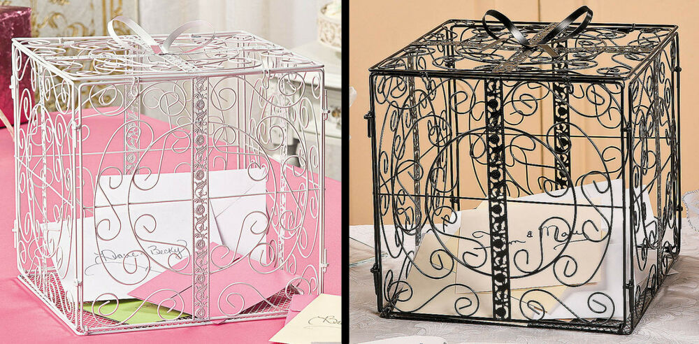 Metal Decorative Wedding Gift Card Holder Box : Metal Gift Box w/ Bow Card Holder Wedding Wishing Well Reception Money ...